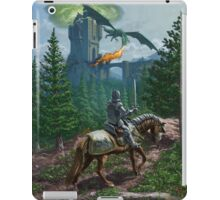 Knight on horseback approaching dragon guarded castle iPad Case/Skin
