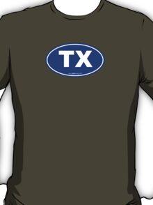 Texas TX Euro Oval BLUE T-Shirt