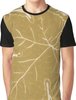 Grape Leaf Linocut 3 Graphic T-Shirt