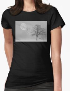 Snow Geese In The Snow Womens Fitted T-Shirt