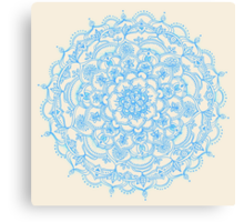Pale Blue Pencil Pattern - hand drawn lace mandala Canvas Print