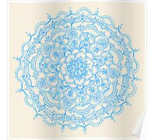 Pale Blue Pencil Pattern - hand drawn lace mandala Poster