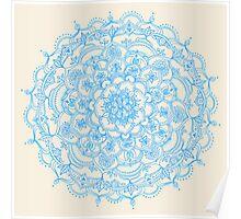 Pale Blue Pencil Pattern - hand drawn lace mandala Poster