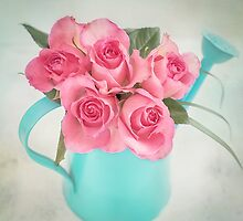 Five beautiful Pink Roses in a teal watering can by carolynrauh