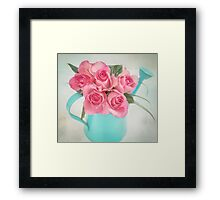Five beautiful Pink Roses in a teal watering can Framed Print