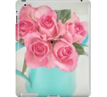 Five beautiful Pink Roses in a teal watering can iPad Case/Skin