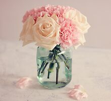 White Roses and Pink Carnation Bouquet by carolynrauh