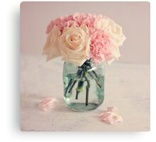 White Roses and Pink Carnation Bouquet Canvas Print