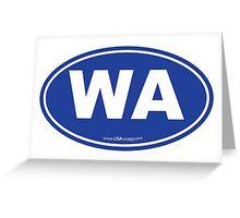 Washington State WA Euro Oval BLUE Greeting Card