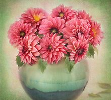 Beautiful Pink Dahlia's in a Green Vase by carolynrauh