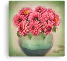 Beautiful Pink Dahlia's in a Green Vase Canvas Print