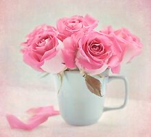 Mauve Roses in a Teal Coffee Cup by carolynrauh