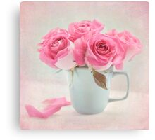 Mauve Roses in a Teal Coffee Cup Canvas Print