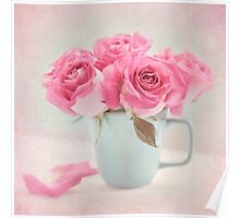Mauve Roses in a Teal Coffee Cup Poster