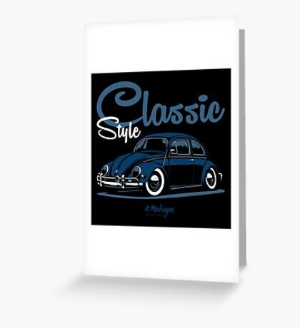Classic Style. VW Beetle (blue) Greeting Card