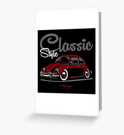 Classic Style. VW Beetle (red) Greeting Card