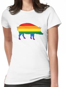 Rainbow Pig Womens Fitted T-Shirt