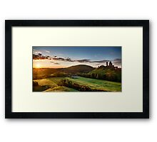 Beautiful sunrise panoramic over Corfe Castle Framed Print