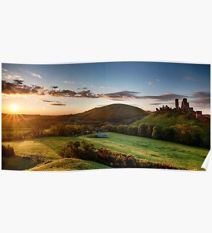 Beautiful sunrise panoramic over Corfe Castle Poster