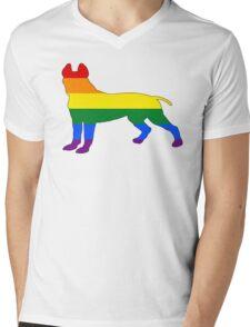 Rainbow Pitbull terrier Mens V-Neck T-Shirt