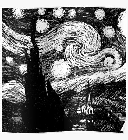 Black & White Starry Night Poster