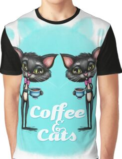Coffee and Cats Graphic T-Shirt