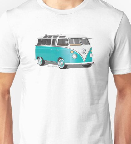 Split VW Bus Teal Hippie Van Unisex T-Shirt
