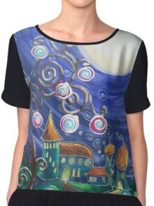 Moon light  fairy castle Tree of life dark night blue expressionism painting by Ksavera Chiffon Top