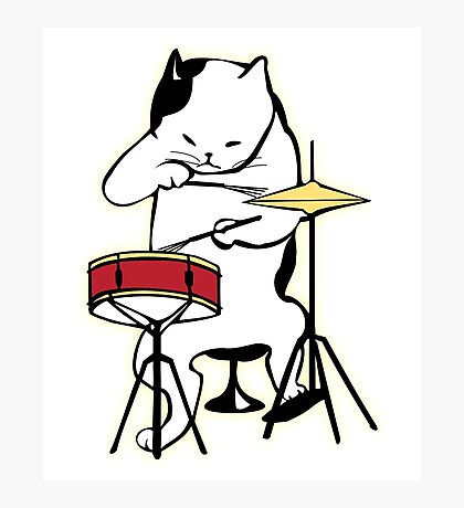 Cat Playing Drums | Funny Drummers Shirt Photographic Print