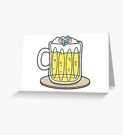 HeinyR- Blue Mouse Drunk Greeting Card