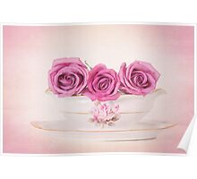 Mauve Roses in a Gravy Boat Poster