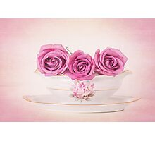 Mauve Roses in a Gravy Boat Photographic Print