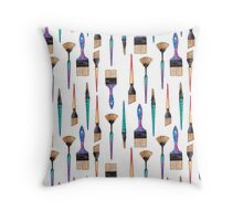 Watercolor Paint Brushes Throw Pillow
