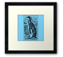 Vintage Penguin Art on Blue Framed Print