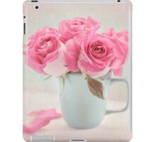 Mauve Roses in a Teal Coffee Cup iPad Case/Skin