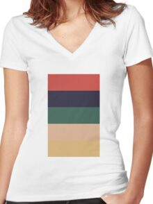 Wes Anderson Palette (Rushmore) Women's Fitted V-Neck T-Shirt