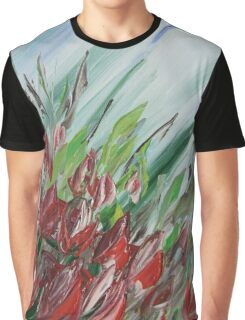 Red tulips palette knife painting by Ksavera Graphic T-Shirt