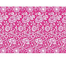 William Morris Carnations | Hot Pink and White Floral Pattern Photographic Print