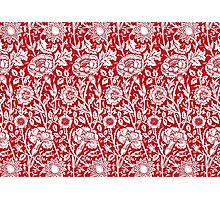 William Morris Carnations | Red and White Floral Pattern Photographic Print
