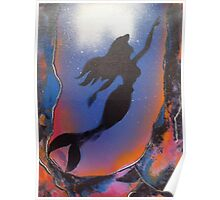 Mermaid reaching Surface Poster