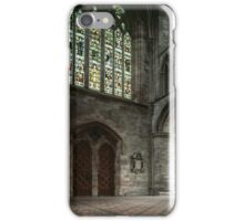 Stained glass window over doors Cathedral Hereford England 19840515 0050  iPhone Case/Skin
