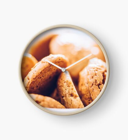 Italian Amaretti Biscuits In White Bowl Clock