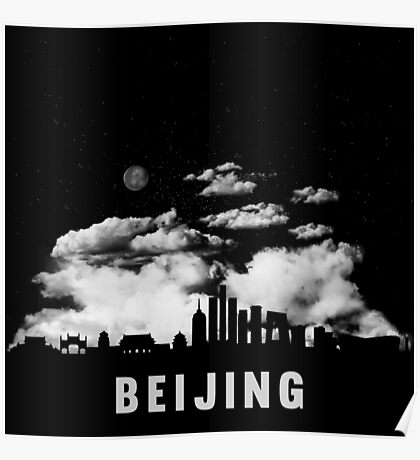 Beijing China Skyline Cityscape at Night Poster