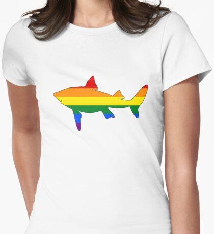 Rainbow Shark Womens Fitted T-Shirt