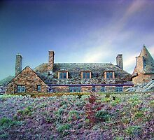 Digital Colouring - castle in wh at sunset by Maureen Zaharie