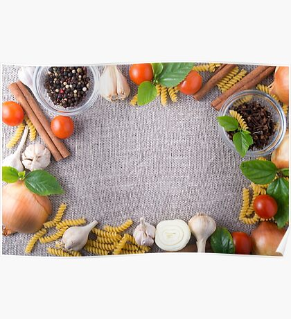 Top view of the ingredients for a meal in the kitchen Poster
