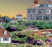 Digital Colouring - beach houses-  summers over  Sticker