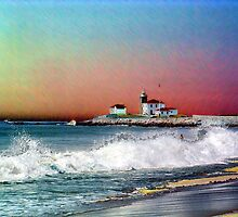 Digital Colouring - watch hill lighthouse at sunset by Maureen Zaharie