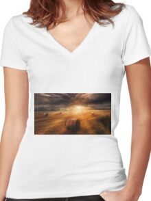 Harvest Rain Women's Fitted V-Neck T-Shirt