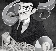 Gomez Addams- Black and White version by LillyKitten